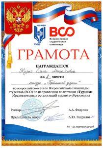 Журко Елена — участница студенческой команды СЭГИ, заняла почетное третье место по итогам конкурса «Проблемная задача».